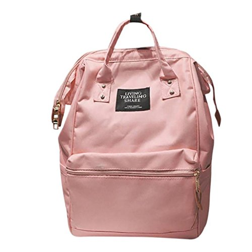 (Creazrise Women Backpack ,Unisex Solid Color TravelBackpack Campus Backpacks For Women (Pink))