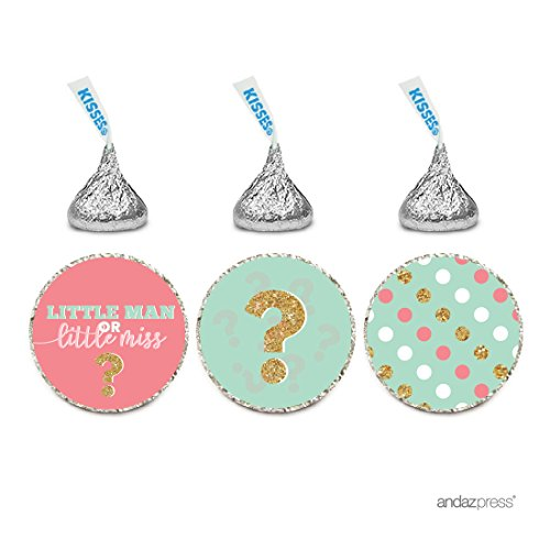 Andaz Press Chocolate Drop Labels Trio, Gender Reveal Baby Shower, Lil Man or Lil Miss?, Coral and Mint Green, 216-Pack, Fits Hershey's Kisses Party Favors, Decor, Decorations
