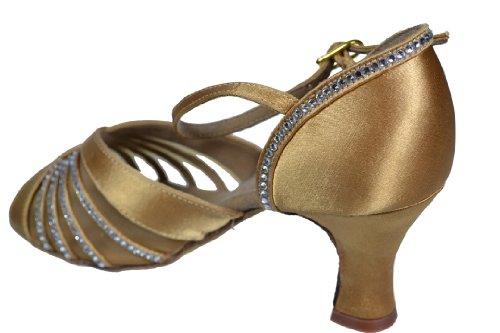 Dames Vrouwen Ballroom Dansschoenen Voor Latin Salsa Tango Handtekening S2805 Tan Satijn Strass Ek11001 2.5 Hak