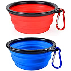 BLEDS Collapsible Dog Bowl, 2 Pack Small Dog Travel Bowls for Pet Cats Dogs, Pet Feeding Watering Bowls for Hiking Camping Includes 2 Carabiners (Blue + Red)