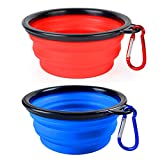 BLEDS Collapsible Dog Bowl - 2 Pack Small Dog Travel Bowls for Pet Cats Dogs - Pet Feeding Watering Bowls for Hiking Camping Includes 2 Carabiners (Blue + Red)