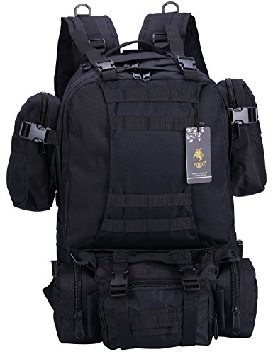 VIDENG POLO PC29 Tactical Military Molle Compatible Backpack with 3 Detachable Pockets 55L(50L+3L+1L+1L) Rucksack Backpack for Camping Hiking Mountain Trekking (HC-black)