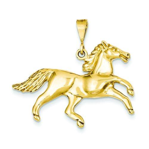 14K Yellow Gold Running Horse Charm Equestrian Pendant