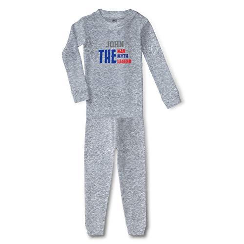 Personalized Custom Name The Man Myth Legend Cotton Crewneck Boys-Girls Infant Long Sleeve Sleepwear Pajama 2 Pcs Set - Oxford Gray, 6 -