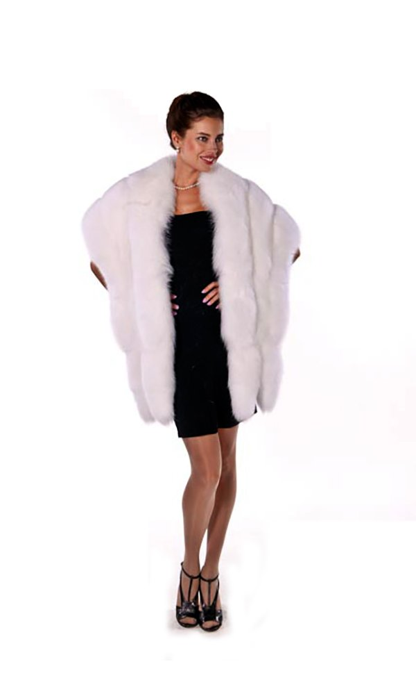 Madison Ave Mall Real Fox Fur Cape For Women - White Wrap with Double Fox Trim 1323