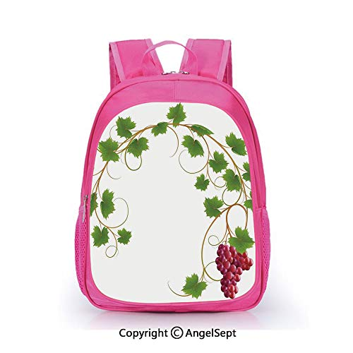 Casual Backpack Waterproof For Kindergarten Students,Curved Ivy Branch Deciduous Woody Wines Seed Clusters Cabernet Kitchen Green Purple,15.7inch,Backpack For Kids Water Resistance