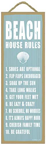 SJT ENTERPRISES, INC. Beach House Rules (Shell Image) Beach Primitive Wood plaques, Signs - Measure 5