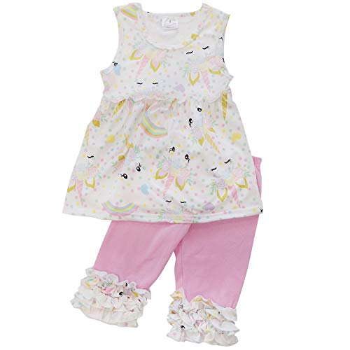 So Sydney Girls Toddler Novelty Outift, Dress, or Romper Spring Summer Pastel Unicorn Collection (12-18 Months (XXS), Pastel & Pink Capri) -