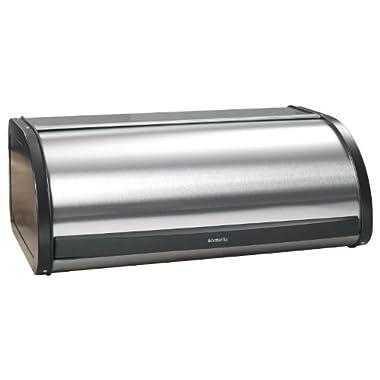 Brabantia Roll Top Bread Box - Matte Steel Fingerprint Proof with Black Sides, 299445