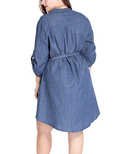 Belted Blue up Above Sleeves Women's uxcell Roll Knee Size Denim Plus Dress wqT7np8