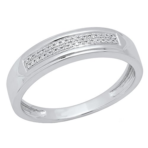 0.10 Carat (ctw) 10K White Gold Round Diamond Men's Micro Pave Wedding Band 1/10 CT (Size