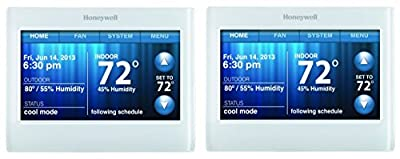 Honeywell RTH9580WF WiFi 9000 Color Touchscreen Thermostat, 8.06 sq in., Premier Silver - 2 Pack