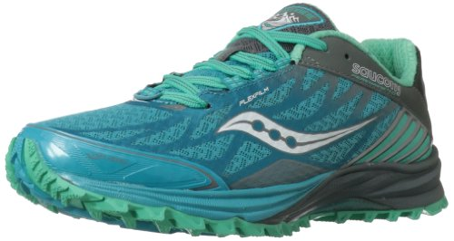 Saucony Women's Peregrine 4 Trail Running Shoe,Blue/Teal/Grey,7.5 M US