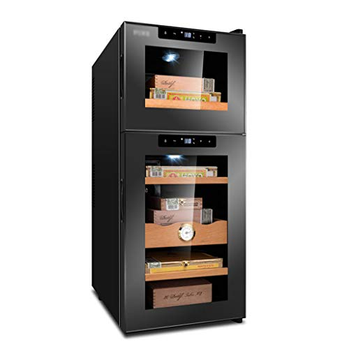 Hermsi Double Temperature Zone Cigar/Wine Cooler, Cigar Humidor, Wine Cellar Refrigerator, Touch Temperature Control, Quiet Operation Fridge, Beech/Cedar Wood Shelf (Wine Cooler Cigar)