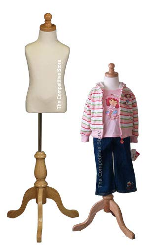 Form Jersey Polyurethane - Kids 3-4 Years Child Jersey Mannequin Dress Form - Boy or Girl - White with Natural Tripod Base