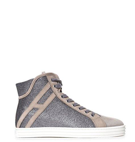 Hogan Rebel Hi Top Sneakers Donna HXW1820I650GAQ384W Camoscio Beige/Grigio