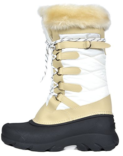 Lined beige Winter Tapanz White Faux Snow Women's Calf Boots Fur PAIRS Mid DREAM nTRqf66