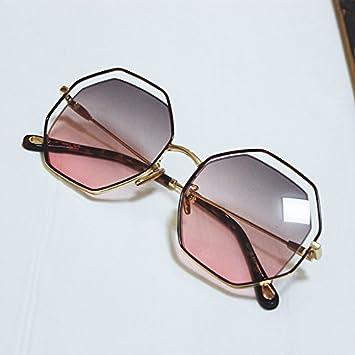 VVIIYJ Sonnenbrille Frauen Sonnenbrille Transparente Gläser Rahmen Runde Gesicht Sonnenbrille Uv Schutz ,Gold Ash