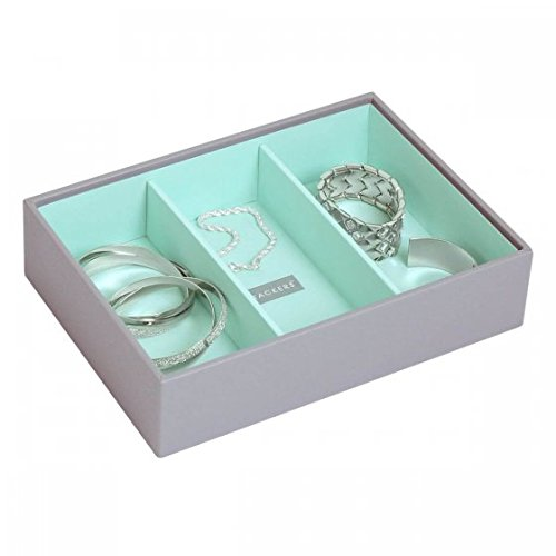 Stackers Dove Gray & Mint Green Classic Deep 3 Section Jewelry Box ()