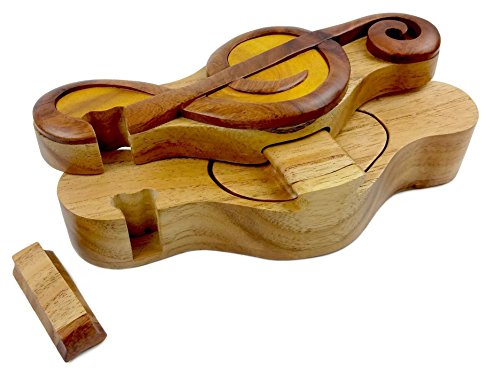 Music Treble Clef All Natural Exotic Woods Puzzle Box, 7.75