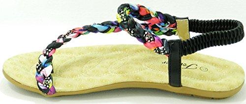 Kvinners Nye Gladiator Rhinestone Blomst T-stropp Flat Sandal Thong Sko Svart-71