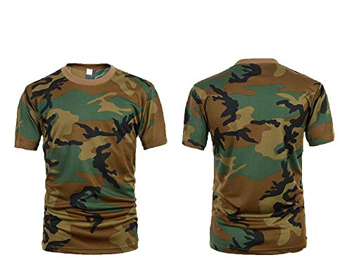 - Men's Outdoor Sports Short Sleeves T-Shirts Breathable Quick Dry Tees,Woodland camo,XL