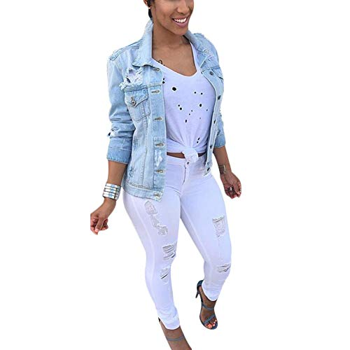 Jacket Distressed Coat Denim Blue Top Ladies Long Jean Outerwear Sleeve VERYCO Women IwqTpTE