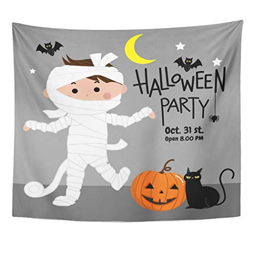 (Emvency Wall Tapestry Bandage Halloween Party Bat Black Cat Cartoon Cat Celebration Character Decor Wall Hanging Picnic Bedsheet Blanket 60x50)