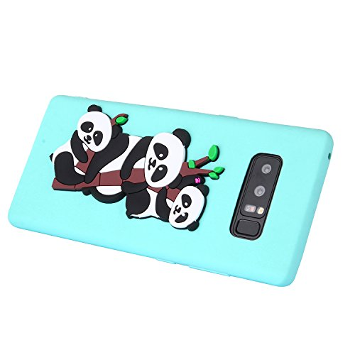 Galaxy Note 8 Case + Free HD Screen Protector,idatog® 3D Cute Cartoon Panda Design Soft Silicone Gel Skin Cover Case Flexible TPU Creative Case Bumper Shockproof Anti-Scratch Protective Back Cover For Green