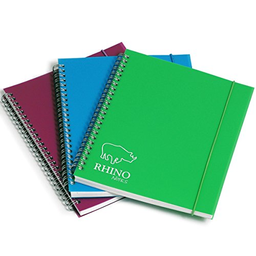 RHINO 9 x 7 200 Pages Ruled Polypropylene Notebook with Elastic Band and Assorted Colour ()
