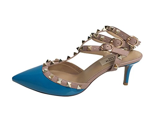 Kaitlyn Pan Pointed Toe Studded Slingback Kitten Heel Leather Pumps Blue Patent/Nude Trim/Gold Studs cheap sale high quality brand new unisex for sale tumblr outlet pictures discount authentic online en9kKQnb45