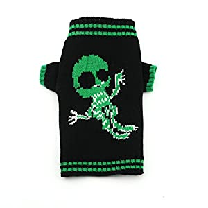 DOGGYZSTYLE Halloween Skull Sweater For Pet Winter Knitwear Warm Dog Cat Costume Black & Green (L, Skull)