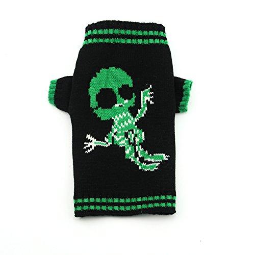 DOGGYZSTYLE Halloween Skull Sweater for Pet Winter Knitwear Warm Dog Cat Costume Black & Green (M, Skull)