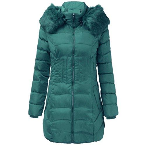 WINWINTOM Moda para Mujer de Invierno larga chaqueta de Algodón Caliente Adelgazan la Capa Parka Trench Outwear Verde