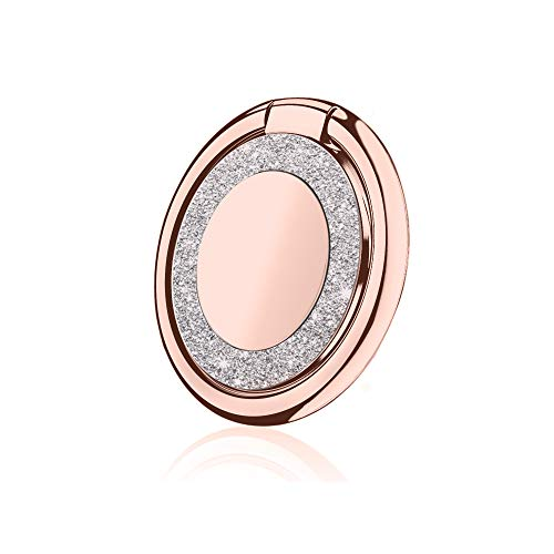 Finger Ring Holder 360°Thin Phone Ring Stand Magnetic Car Mount Grip for Phone Samsung Table and More(Circular-Rose Gold) ()