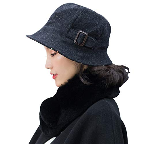 677888 Winter Hat for Women Basin Hat Fisherman Hat Female Autumn and Winter Korean Version of The British Fashion Elegant Hat Wool Adjustable by 677888 (Image #2)