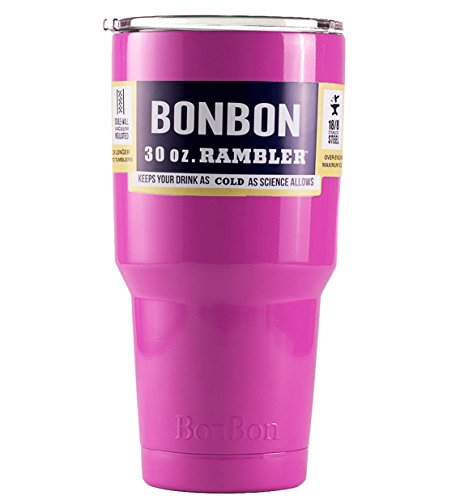 BonBon 30 oz Ounce Rambler Tumbler Stainless Steel Cup with Lid (pink)