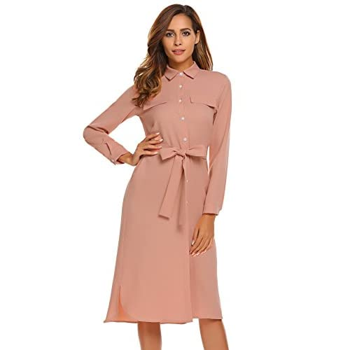 Discount ELESOL Women Long Sleeve Collared Button Down Pocket Belted Midi Shirt Dresses supplier