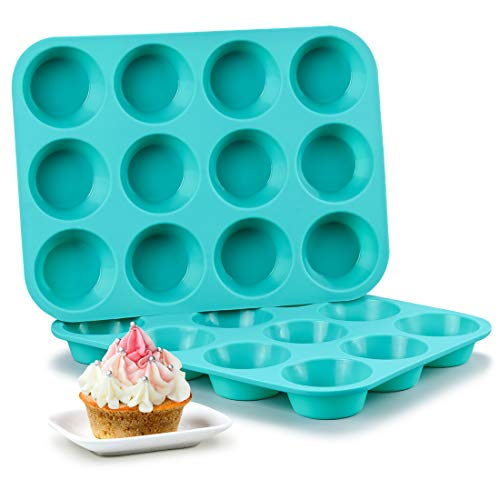 - Silicone Muffin Pan Set - Cupcake Pans 12 Cups Silicone Baking Molds,BPA Free 100% Food Grade, Pinch Test Approved, Pack of 2