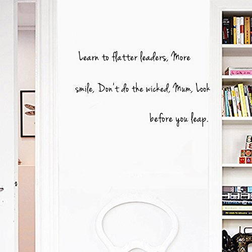 Learn to flatter leaders, More smile, Don't do the wicked, Mum, Look before you leap. Sayings Letters Decals Lettering Vinyl stickers Size: 28