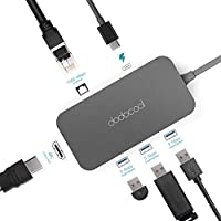dodocool 6-in-1 USB C Hub with Type-C Power Delivery 4K Video HD Output Port Gigabit Ethernet Adapter, 3 USB 3.0 Ports Aluminum Alloy for MacBook/MacBook Pro/Google Chromebook Pixel and More