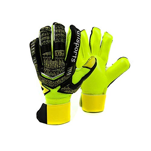Goalie Goalkeeper Gloves Pro Fingersave,Strong Grip for Toughest Saves, Protection to Prevent Injuries, Fit Match Training,Adult,Youth,Kids Size 5-11,4 Colors,30 DAYS 100% WARRANTY (Black & Yellow, 5) (German Goalie Jersey)