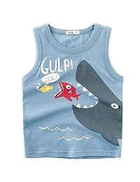 Askong Boys Girls Sleeveless O Neck Summer 100% Cotton Cartoon Shark Printing Vest Tops Clothing for 1-10 Years