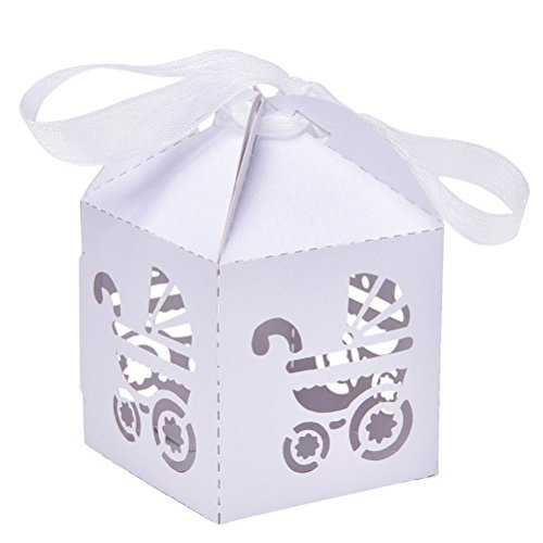 50pcs Laser Cut Baby Carriage Favor Box Bomboniere Gift Candy Boxes Baby Shower Party Decoration White