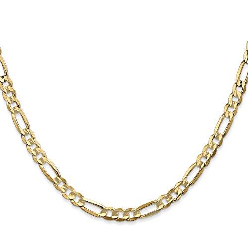 Jewel Tie 14k Gold 4.4mm Concave Open Figaro Chain 22