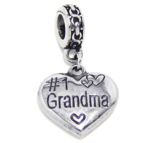 ICYROSE Stainless Steel Dangling #1 Grandma Heart Charm Bead 315 for European Snake Chain Bracelets