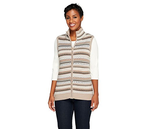 Liz Claiborne NY Fair Isle Print Turtleneck Sweater Vest Neutral XXS New A257201 (Fair Isle Turtleneck Sweater)