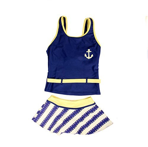 New Arrival Summer Children Kids Two-piece Swimsuit Swimwear Swimdress For Girl (blue, 164(12-14 years old))