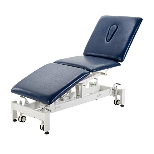 Electric Treatment Table,HomelyD Hi-Lo adjustable,3-section Physical Therapy Table, ultra comfortable foot control for Clinic,Massage and Acupuncture (Blue) ()
