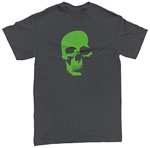 Neon Green Skull Men's T-shirt, SpiritForged Apparel, Charcoal Large (Spirit Halloween Sf)